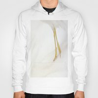 skiing Hoodies featuring Gull Skiing by Karol Livote