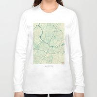 austin Long Sleeve T-shirts featuring Austin Map Blue Vintage by City Art Posters