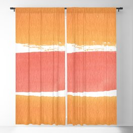 Watercolor orange pink coral brushstrokes stripes Blackout Curtain