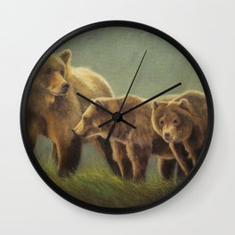 MAMA GRIZZ FIERCE AND FREE Wall Clock