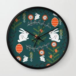 Winter holidays with bunnies Wall Clock