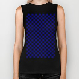 Black and Navy Blue Checkerboard Biker Tank