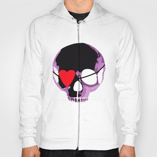 Pink skull with heart eyepatch Hoody