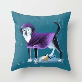 Raincoat puppy an April angel Throw Pillow