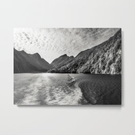 Morning Cruise at Doubtful Sound in black and white Metal Print