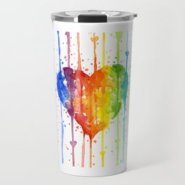 Rainbow Heart Watercolor Travel Mug
