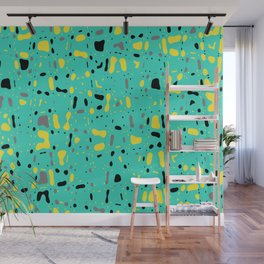Turquoise blue, yellow and black spots, abstract galaxy texture print, color moving fragments Wall Mural