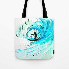 Lone Surfer Tubing the Big Blue Wave Tote Bag