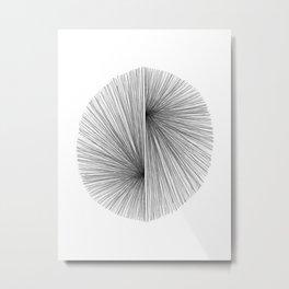 Mid Century Modern Geometric Abstract Radiating Lines Metal Print
