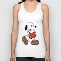 snoopy Tank Tops featuring Mickey x Snoopy by Nicholas Hyde