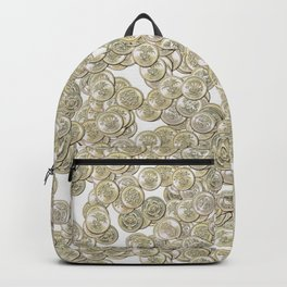 Old British Pound Coins Repeating Pattern Backpack