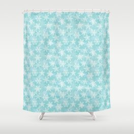 blue winter background with white snowflakes Shower Curtain