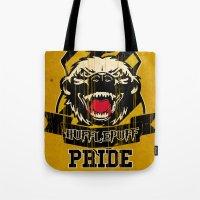 hufflepuff Tote Bags featuring Hufflepuff Pride by Geekleetist