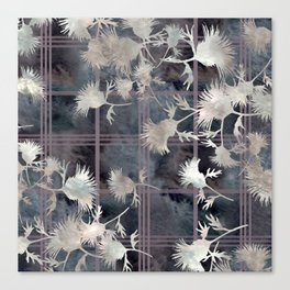 Thistle Flower Felted Plaid Pattern Canvas Print