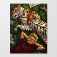 calvin and hobbes Canvas Prints featuring Calvin and Hobbes by Brianna Hoftun