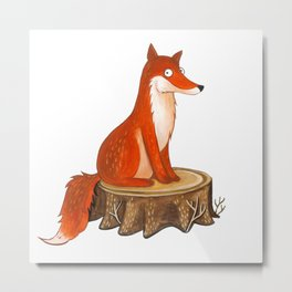 Silly Cute Fox, foxy, illustration, watercolor, wood, adorable, children, kid, decoratin Metal Print
