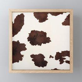 Brown and White Cowhide, Cow Skin Pattern, Farmhouse Decor Framed Mini Art Print