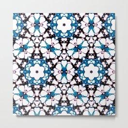 batik floral in blue Metal Print