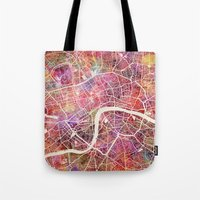 london Tote Bags featuring London  by MapMapMaps.Watercolors