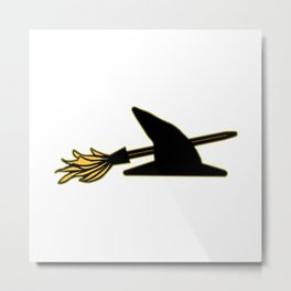 Witch Hat & Broomstick Metal Print