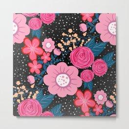 Pretty girly pink Floral Silver Dots Gray design Metal Print