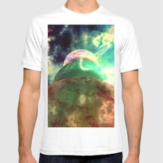 Meanwhile, Somewhere in The Universe... White Mens Fitted Tee MEDIUM