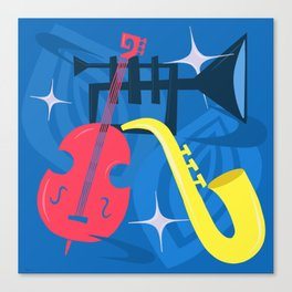 Jazz Composition With Bass, Saxophone And Trumpet Canvas Print