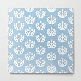 Mid Century Modern Abstract Flower Pattern 821 Light Blue Metal Print