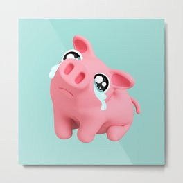 Rosa the Pig Sad Metal Print