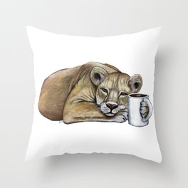 """""""Lazy Lioness"""" - Java Jungle collection Throw Pillow"""