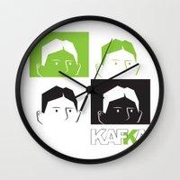 kafka Wall Clocks featuring Kafka Faces by Kafka Prepa Abierta