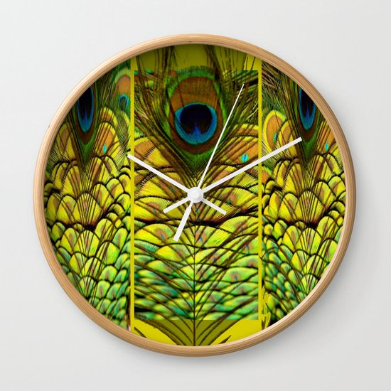 Wall Clock Art Design : Green yellow peacock feathers art design wall clock by