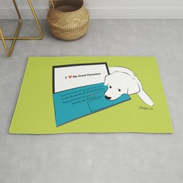 Techie Great Pyrenees Puppy Rug