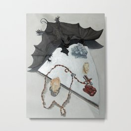 Bat with Rosary and Crystals Metal Print