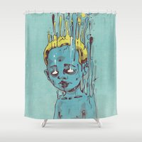 propaganda Shower Curtains featuring The Blue Boy with Golden Hair by Dr. Lukas Brezak