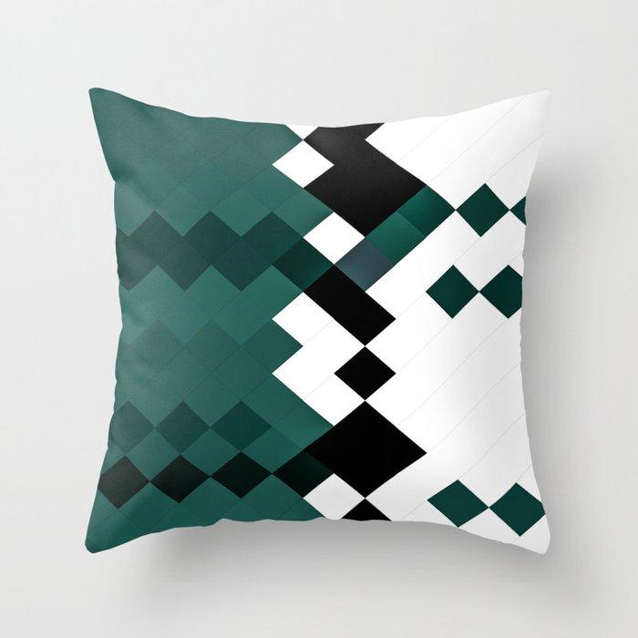 Emerald Green White Black Geometrical Pattern Deko-Kissen