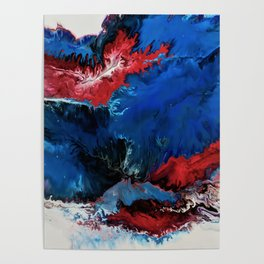 Superhero- Red White and Blue Fluid Art Print Poster