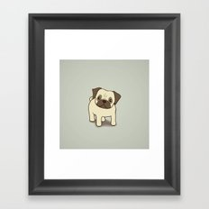 Pug Puppy Illustration Framed Art Print