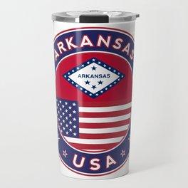 Arkansas, Arkansas t-shirt, Arkansas sticker, circle, Arkansas flag, white bg Travel Mug