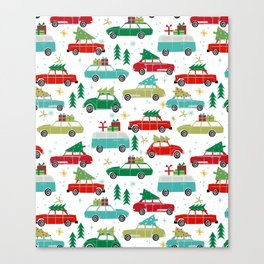 Christmas holiday vintage cars classic festive christmas tree snowflakes winter season Canvas Print