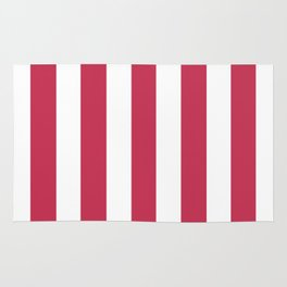Dingy Dungeon fuchsia - solid color - white vertical lines pattern Rug