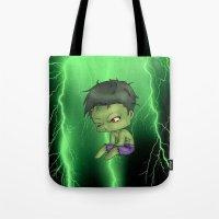 chibi Tote Bags featuring Chibi Hulk by artwaste