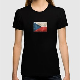 Vintage Aged and Scratched Czech Flag T-shirt