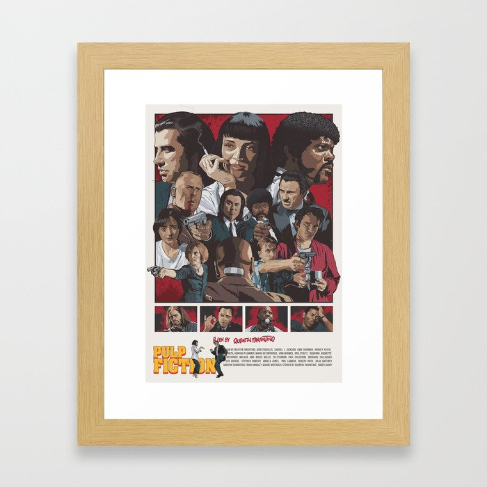Quentin Tarantino's Pulp Fiction Fan Poster Framed Art Print