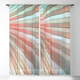 Chromatic Fan - Copper, Red and Turquoise Sheer Curtain