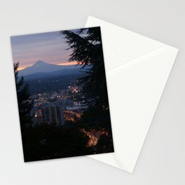 Mount Hood over Portland Stationery Cards