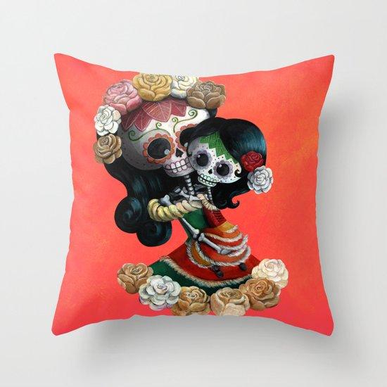 Dia de Los Muertos - Skeleton Mum and Daughter Moment Throw Pillow