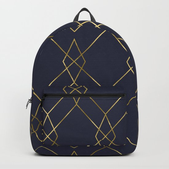 Gold Geometric Navy Blue Backpack