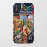 tarot iPhone & iPod Cases featuring Tarot cat by oxana zaika