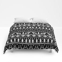 Deer christmas fair isle camping pattern snowflakes minimal winter seasonal holiday gifts Comforters